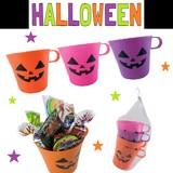 カラフルマグカップ4色セットパンプキン * 軽くてかわいいマグカップ!ハロウィンパーティーに♪