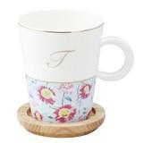 Initial Mug Coaster Floral Pattern Casual United Kingdom Coffee