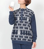 【秋冬セール】【日本製】衿付き半開パジャマ【ジャガードパイル・ネコ】
