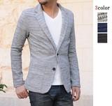 <SALE>リップル カット素材 テーラードジャケット / 秋冬 長袖 杢 ソリッド 表面感