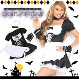 【即納】Let'sハロウィンパーティー!!メイド風ワンピース*ハロウィン コスプレ 衣装
