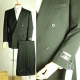 スリーシーズン*合冬物*ダブル上下:ブラックスーツ4B×1:ジャケット+パンツ【日本製】喪服礼服