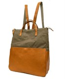 Closs Cow Leather Canvas Backpack
