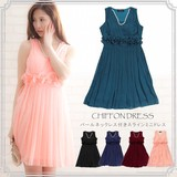【S・M・Lサイズ/再入荷】パールネックレス付き*Aラインプリーツスカートドレス