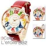 【本革ベルト】煌めくプリズムフェイス レディース腕時計 BB2