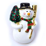 Christmas Glitter Brooch Tuck Snowman Snowman
