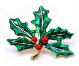 クリスマス商材☆キラキラピンブローチ タックピン☆ヒイラギ 葉