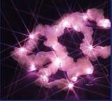 デコレーションに最適なLEDリボン(電池式) ピンク<イルミネーション・クリスマス・装飾・ホワイト>