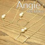 再入荷【Angie】マルサンカクシカク&コットンパール ゴールド ネックレス!シンプル&フェミニン!