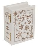 【 木製ブック型オルゴール (雪の結晶) ♪Let It Go 】