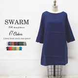 Linen Neck One-piece Dress All Ladies