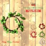 【直送可】【クリスマス】【おしゃれ】【装飾】ミニリース ボンボン、オリーブ、ベリー
