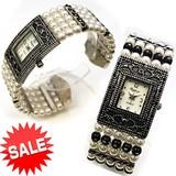 【在庫処分SALE】パールビーズのバングルウォッチ レディース 腕時計
