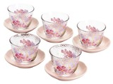 ■ガラスギフト■華ひとひら 茶托付ガラス冷茶セット