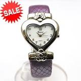 【在庫処分SALE】ハートフェイスの革ベルトバングルウォッチ レディース 腕時計