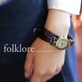 [folklore]本革。アンティーク2連ベルト腕時計◆421559