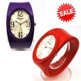 【在庫処分SALE】幅広プラスチックカラーバングルウォッチ レディース腕時計 ファッションウォッチ