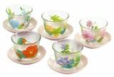 ■ガラスギフト■旬花 茶托付ガラス冷茶セット