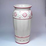 ポルトガル製 陶器 傘立て デイジー レリーフ アンティーク 風 ピンク 仕上げ 花柄