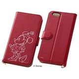 iPhone6/iPhone6s/【Disney】スマホケースブックカバータイプ ホットスタンプ ミニーマウス