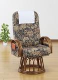 【直送可】【送料無料】天然籐リクライニング回転座椅子