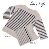 【即納】【2016年春夏新作】【GiveLife】オーガニック2ッ杢天竺パネルボーダー<動画有>