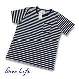 【即納】【2016年春夏新作】【GiveLife】オーガニックボーダーTシャツ<>
