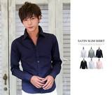 驚異のストレッチシャツ シャツ メンズ スリムフィット 綿サテン