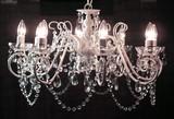 シャンデリア-8灯スチールフレーム/ホワイト/クリスタル装飾
