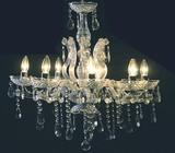 シャンデリア-8灯-アクリルクリアフレーム/ガラス製/クスタル装飾/折り畳み可能