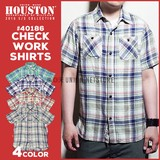 【2016年 夏物新作】【HOUSTON】チェック柄半袖ワークシャツ