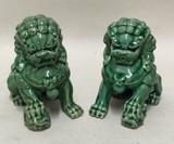 陶器 獅子 グリーン 緑 セット