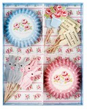 Cupcake Box Aqua Flower 24 Pcs Set