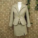 【冬物アウトレット】ウール混ネップヤーン♪太ベルト付きミニスカートスーツ