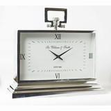 手持ち付き【置き時計】シルバー手持ち付き大型