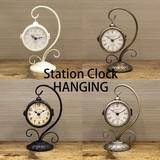 【両面置時計】ステーションクロック[ハンギング]