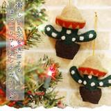 楽しい気分を演出する ほっこりサボテンデザイン♪【クリスマスサボテンオーナメント】アジアン雑貨