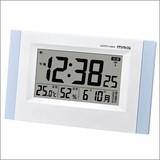 【目覚まし時計】置掛電波時計 エアサーチブリックス ブルー W-660LBU