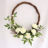【春のリース】White Carnation Twig Wreath