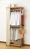 【直送可】【送料無料】天然木カーテン付き2段ハンガー