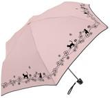 ★シルバーコーティング晴雨兼用傘<UV99%カット>【クローバー&CAT プリント】 ☆50cm折り畳み傘