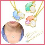 ビジュー&光石とパールモチーフのネックレス