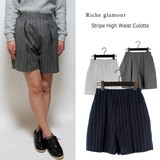 S/S Dyeing Stripe High-waisted Culotte Pants