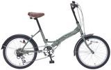 20インチ6段ギア折畳自転車 グリーン / ギフト ノベルティ グッズ