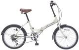 20インチ6段ギア折畳自転車 アイボリー / ギフト ノベルティ グッズ