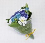 ポンヌフブーケ ローズ (S) ブルー ☆お部屋が華やかになる造花・フェイクフラワー