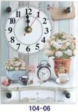 薔薇柄置時計