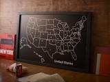 木製黒板ボード(アメリカ合衆国マップ)