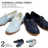 【glabella グラベラ】ケミカルウォッシュ デニム オペラパンプス