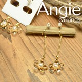 NEW【Angie】ゴールドフラワー&チェーン オメガイヤリング/ノンホールピアス